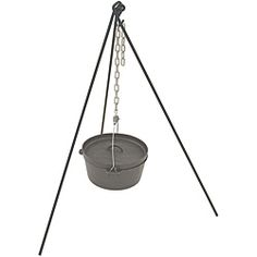 @Overstock - Hang your cast iron Dutch oven over the open fire with this steel outdoor cook pot stand during your next camping trip. A chain is included, so this tripod stand is ready to go. The tote bag lets you transport it easily from your home to the campsite.http://www.overstock.com/Home-Garden/Bayou-Classic-Tripod-Stand-with-Chain-and-Totebag/6220255/product.html?CID=214117 $29.99
