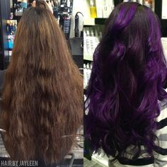 Hair by Jayleen, The Hot Seat Salon, purple hair, violet hair, before and after, purple Balayage, pravanavivids, San Diego salon, San Diego hairstylist, hair color, long curls, long purple hair, guy tang inspired, Schwarzkopf, long layers, violet hair color