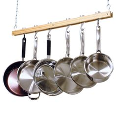 Amazon.com: Cooks Standard Ceiling Mount Wooden Pot Rack, Single Bar: Kitchen Pot Racks: Kitchen & Dining