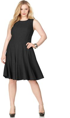 Calvin Klein Plus Size Pleated A-Line Dress - A flattering and feminine silhouette makes this plus size Calvin Klein dress a must-have for the office and beyond. A perfect foundation to showcase chic accessories.      Slightly fitted in bust     Flared at waist     A-line skirt