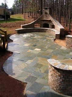 Minus the blue stone, I like the brick seating area and brick oven/fireplace Outdoor Rooms, Outdoor Gardens, Outdoor Living, Outdoor Decor, Outdoor Oven, Outdoor Fire, Backyard Fireplace, Fireplace Wall, Bluestone Patio