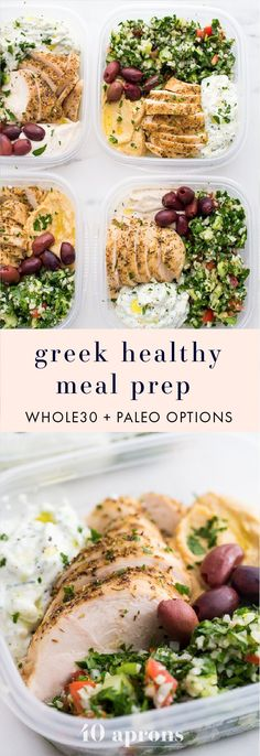 This Greek healthy meal prep recipe is epic: cauliflower rice tabbouleh, tender seasoned chicken breasts, hummus or baba ganoush, kalamata olives, and a rich, garlicky tzatziki. This healthy meal prep (Chicken)