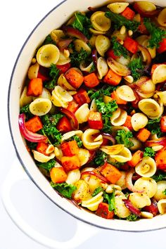 This seasonal Pasta with Caramelized Sweet Potatoes and Kale recipe is quick and easy to make, it's seasoned with savory balsamic vinegar and garlic, and it's so beautiful and delicious! Ever since I started working from home about five years ago, I've faithfully spent mylunch break most days witha bowl of leftovers from whatever recipe …