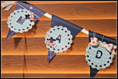 Banner featuring Sneak Peak of the Bow Builder Punch - also was good use of retired DSP and ribbon.  Includes flower from Itty Bitty Accents Punch Pack.  Pennants made with Perfect Pennants Bigz (ret).  Ann's PaperWorks - Stampin' Up!