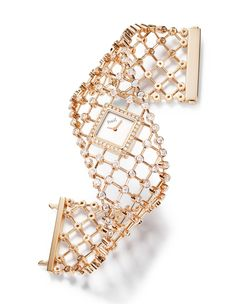Piaget Couture Précieuse high jewelry cuff watch in rose gold set with 194 brilliant-cut diamonds (approx. Gold Gold, Gold Set, Bling Bling, High Jewelry, Jewelry Accessories, Piaget Jewelry, Gold Models, Beautiful Watches, Luxury Watches