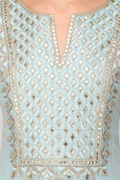 Anita Dongre presents Powder blue gota patti work kalidaar anarkali kurta set available only at Pernia's Pop Up Shop. Embroidery Suits Punjabi, Embroidery On Kurtis, Embroidery Suits Design, Indian Embroidery, Hand Embroidery Designs, Embroidery Dress, Beaded Embroidery, Kurta Designs, Blouse Designs