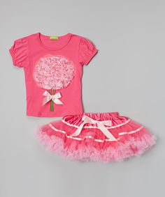This Pink & Magenta Bouquet Top & Pettiskirt - Toddler & Girls by Sweet Bluette is perfect! #zulilyfinds