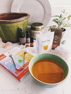 Ayurvedic medicine and a turmeric latte