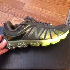 Heidi Klum for New Balance running shoes Brand new, in box. Never worn. Olive green with brighter neon green accents and some metallic, too! Very cute. New Balance Shoes Athletic Shoes