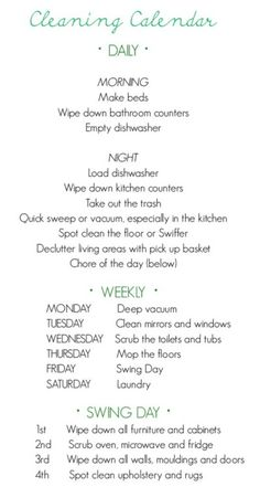 "Cute Idea for ""Cleaning Routine"" - would help me from having to do all my cleaning on one day!"