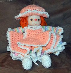 HAND-MADE-CROCHETED-KNITTED-12-DOLL-MULTI-COLORED-EXCELLENT-CONDITION