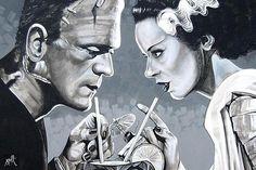 Amorous Libation by Mike Bell Tattoo Art Print Monster Bride of Frankenstein | eBay