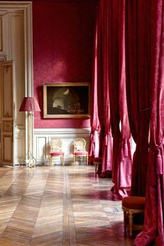 Raspberry silk damask curtains. ~ETS