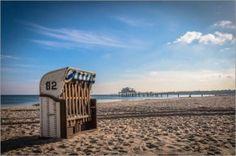 Alu Dibond 120 x 80 cm: Ostsee - Strandkorb von Maik Berendt