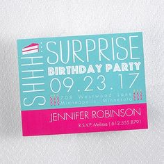 "Birthday Caper - Lagoon - Magnet Invitation   Share this colorful birthday surprise invitation with all of your guests.  Dimensions: 5 1/2"" x 4 1/4"" Magnet• Price Includes: Printed invitation and blank single white envelope • Production Time: 2 Working Days"