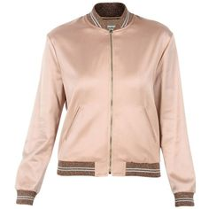 """Light Pink \""""Love\"""" Bomber Jacket ($2,165) ❤ liked on Polyvore featuring outerwear, jackets, poudre, yves saint laurent, blouson jacket, light pink bomber jacket, pink bomber jacket and yves saint laurent jacket"""