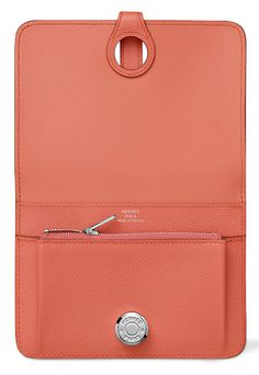 Hermes Dogon Wallet/Purse in Flamingo Pink Leather. Open Inside View.