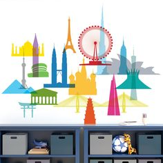 Colorful Icons City Wall Decals