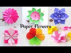 6 Easy Paper Flowers | Flower Making | DIY - YouTube Tissue Paper Flowers Easy, Simple Paper Flower, Paper Flowers Craft, How To Make Paper Flowers, Easy Paper Crafts, Paper Flower Tutorial, Giant Paper Flowers, Paper Roses, Flower Crafts