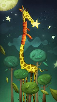 Gigi, the gigantic giraffe got the munchies. And stars are her super-snack, they make her shine and sparkle inside.Illustration designed for Paperwoods, will be sold as limited edition print.