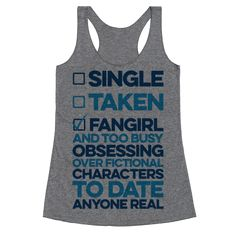 Make sure everyone knows that you're too busy thinking about fictional characters to ever pay attention to a real life ship, unless it's someone you can spend your time fangirling with! This fangirl shirt is perfect for conventions, chilling out, writing fanfic, blogging, whatever you like to do that's about your favorite fandoms! Whether you're into Supernatural, Sherlock, Doctor Who, Harry Potter, or any other fandoms.