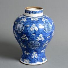 An 18th Century Kangxi Period Blue & White Porcelain Vase