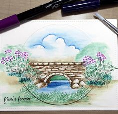 Art Impressions Rubber Stamps: Ai Wonderful Water Color...handmade card. bridge, flowers, grass, foliage