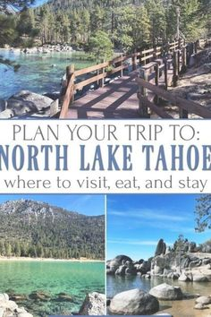 Thinking about traveling to Lake Tahoe? North Lake Tahoe is definitely a MUST on your travel list. This scenic town is as fun as it is pretty. Find the best places to stay, dine, shop, and visit while traveling to North Lake Tahoe Lake Tahoe Summer, Lake Tahoe Vacation, South Lake Tahoe, Florida Vacation, Lake Tahoe Lodging, Lake Tahoe Restaurants, Sand Harbor Lake Tahoe, Lake Tahoe Nevada, Florida Keys