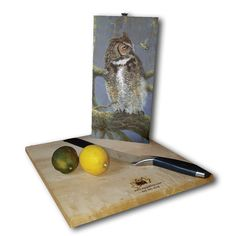 "Fearless Owl and Hummingbird 12"" x 6"" Cutting Board"