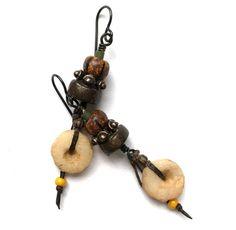 Tribal Earthy Earrings Rustic Boho Chic Earrings by SheFliesAgain