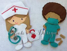 Doctor or Nurse outfit for felt dolls available at https://www.etsy.com/shop/SchoolhouseBoutique