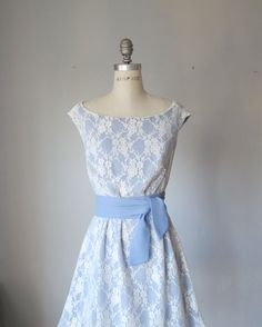 Dress Creme Lase Lavender Bridesmaids Bride Wedding Pale Creamy Roses Dreamy Spring A line dress. $89.99, via Etsy.