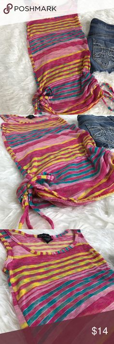 Love sheer striped knit tank tie waist l Bottom adjustable cinched tie waist. 96% polyester 4% spandex item #196 Tops Tank Tops