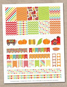 Pumpkin Patch Planner Stickers Set Instant Download DIY Printable PDF with Checklists Weekend Banners