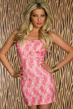 New Melting Midsummer Coral Floral Party Club Mini Dress Sexy Dresses, Nice Dresses, Fashion Dresses, Mini Club Dresses, Color Rosa, Tube Dress, Clubwear, Lady, Floral