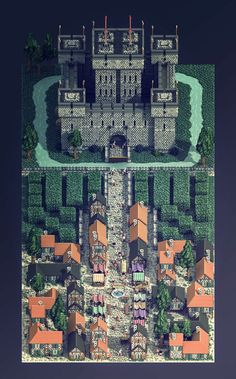 Medieval town - Voxel art on Behance — Illustrations — Pixodium Sprites, 2d Game Art, Video Game Art, Arte Game Of Thrones, Arte 8 Bits, Chrono Trigger, Rpg Map, 8bit Art, Isometric Art