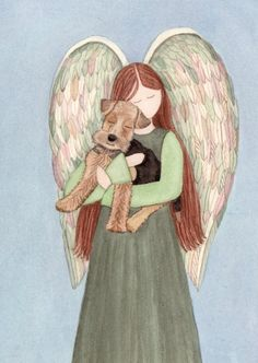 Airedale/Welsh Terrier cradled by angel / Lynch signed folk art print