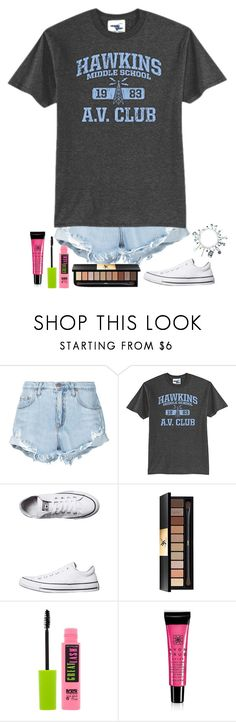 """Stranger Things set"" by loveandintelligence ❤ liked on Polyvore featuring Nobody Denim, Converse, Yves Saint Laurent, Maybelline and Avon"