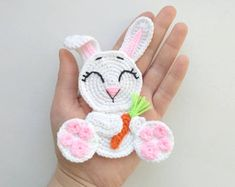 PATTERN Rabbit Applique Crochet Pattern PDF Woodland Animals Pattern Easter Bunny Applique Crochet Easter Rabbit Baby Blanket Baby Gift ENG