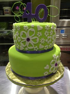 Lime green and purple cake. Ladies cake.