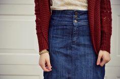 Sunday Style - Jean Skirt + Lace Blouse