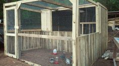 This is our chicken coop an run we built in two days out of pallets. Not quite finished completely with it but absolutely love it so far!