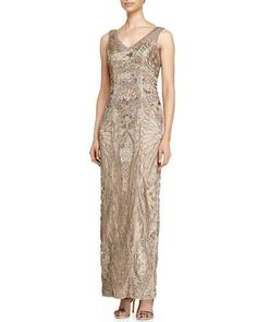 T9MCN Sue Wong Sleeveless V-Neck Embroidered Column Gown, Taupe