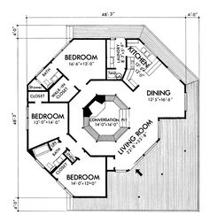 38 Best Ideas For Bedroom Furniture Layout Square House Plans Round House Plans, Square House Plans, Small House Plans, Beach House Floor Plans, The Plan, How To Plan, Plan Plan, Contemporary Cottage, Contemporary Style Homes