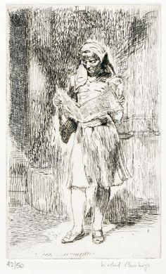 Isabel Bishop : Girl with Newspaper at Davidson Galleries