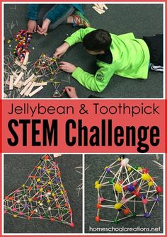 Jellybean and toothpick STEM challenge - building a structure that supports weight #STEM