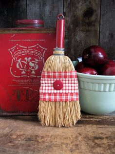 Antique Whisk Broom with Red Wood Handle Wrapped in Homespun  #NaivePrimitive