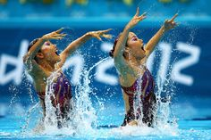 Yukiko Inui and Chisa Kobayashi of Japan compete in the Women's Duets Synchronised Swimming Technical Routine on Day 9 of the London 2012 Olympic Games at the Aquatics Centre  on August 5, 2012 in London, England.