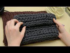Очень простая сумка с боковушками из трикотажной пряжи Лента - YouTube
