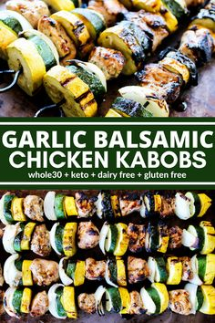 Garlic Balsamic Chicken Kabobs are a complete meal on a stick! The marinad. These Garlic Balsamic Chicken Kabobs are a complete meal on a stick! The marinad. Chicken Kabob Marinade, Grilled Chicken Kabobs, Veggie Kabobs, Chicken Skewers, Shrimp Kabobs, Steak Kabobs, Shish Kebab, Kabob Recipes, Recipies